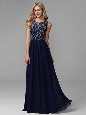 cheap Bridesmaid Dresses-A-Line Elegant Beaded & Sequin Prom Formal Evening Dress Jewel Neck Sleeveless Floor Length Chiffon Lace with Pleats Beading 2020