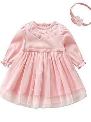 6646e4a7e3f2 Baby Pige Basale Ensfarvet Langærmet Bomuld Kjole Hvid