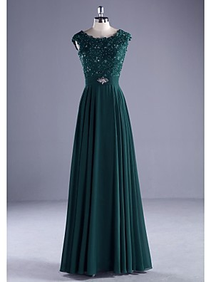 cheap Evening Dresses-A-Line Elegant Wedding Guest Formal Evening Dress Jewel Neck Sleeveless Floor Length Chiffon Beaded Lace with Crystals Appliques 2020