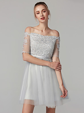 cheap Special Occasion Dresses-A-Line Lace Up Cute Holiday Cocktail Party Dress Off Shoulder Half Sleeve Short / Mini Tulle Lace Bodice with Sash / Ribbon 2020