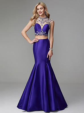 cheap Prom Dresses-Mermaid / Trumpet Elegant & Luxurious Two Piece See Through Prom Formal Evening Dress High Neck Sleeveless Floor Length Satin Tulle with Crystals Beading 2020