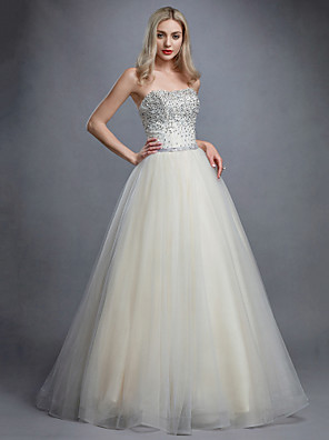 cheap Evening Dresses-Ball Gown Elegant & Luxurious Open Back Pastel Colors Formal Evening Dress Strapless Sleeveless Floor Length Tulle with Crystals Beading 2020
