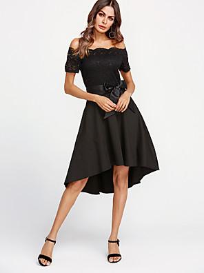 cheap Casual Dresses-Women's Sheath Dress - Short Sleeve Solid Color Lace Summer Off Shoulder Cocktail Party Lace Wine White Black Purple Blushing Pink Navy Blue S M L XL XXL / Cotton