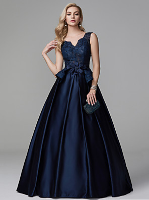 cheap Prom Dresses-Ball Gown Peplum Blue Quinceanera Formal Evening Dress V Neck Sleeveless Floor Length Lace Satin with Bow(s) Beading 2020