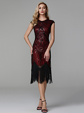 cheap Special Occasion Dresses-Sheath / Column Roaring 20s Red Party Wear Cocktail Party Dress Jewel Neck Short Sleeve Asymmetrical Polyester with Sequin Tassel 2020