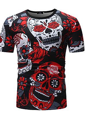 cheap Men's Shirts-Men's Floral Skull Print T-shirt - Cotton Round Neck Red