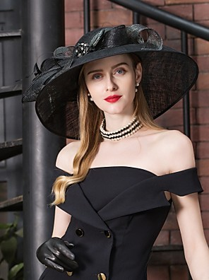 cheap Evening Dresses-Flax Kentucky Derby Hat / Hats with Rhinestone / Feather / Bowknot 1pc Special Occasion / Party / Evening / Horse Race Headpiece