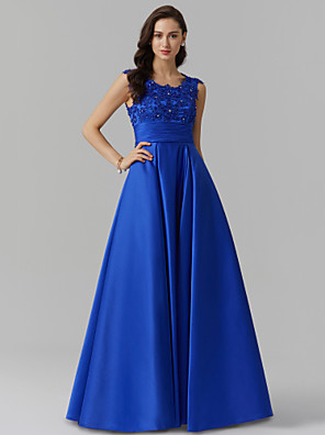 cheap Evening Dresses-A-Line Elegant Blue Prom Formal Evening Dress Jewel Neck Sleeveless Floor Length Stretch Satin with Beading Appliques 2020