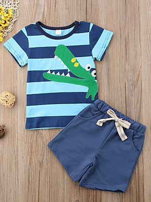 cheap Boys' Clothing Sets-Toddler Boys' Basic Daily Sports Striped Print Solid Colored Print Short Sleeve Regular Regular Clothing Set Blue / Cute