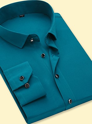 cheap Shirts-Men's Solid Colored Shirt - Cotton Business Basic Party Daily Work Blue / Army Green / Fuchsia / Lavender / Light Blue / Long Sleeve
