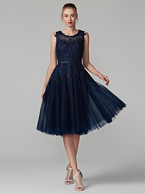 cheap Cocktail Dresses-A-Line Elegant Blue Cocktail Party Prom Dress Jewel Neck Sleeveless Knee Length Lace Over Tulle with Beading Appliques 2020
