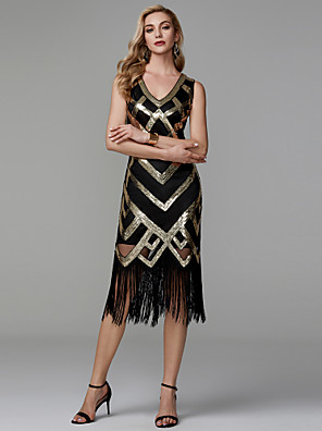cheap Cocktail Dresses-The Great Gatsby Charleston Sheath / Column Elegant Sparkle & Shine Homecoming Cocktail Party Dress V Neck Sleeveless Tea Length Polyester with Sequin 2020