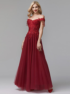 cheap Evening Dresses-A-Line Luxurious Red Prom Formal Evening Dress Off Shoulder Sleeveless Floor Length Lace Tulle with Beading Appliques 2020