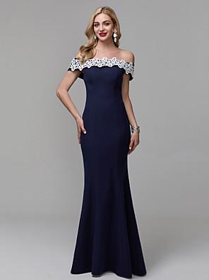 cheap Evening Dresses-Sheath / Column Elegant Floral Minimalist Prom Formal Evening Dress Off Shoulder Short Sleeve Floor Length Lace with Appliques 2020