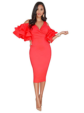cheap Party Dresses-Women's Bodycon Dress - Short Sleeve Solid Colored V Neck Cocktail Party Skinny Ruffle Black Red Yellow S M L XL XXL