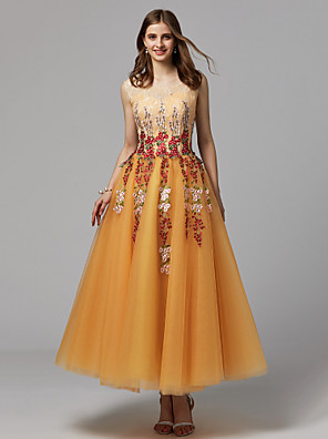 cheap Prom Dresses-Ball Gown Floral Yellow Homecoming Prom Dress Illusion Neck Sleeveless Ankle Length Lace Tulle with Embroidery Appliques 2020