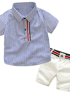 cheap Boys' Clothing Sets-Toddler Boys' Active Basic Daily School Striped Color Block Patchwork Patchwork Print Short Sleeve Regular Regular Clothing Set Pink