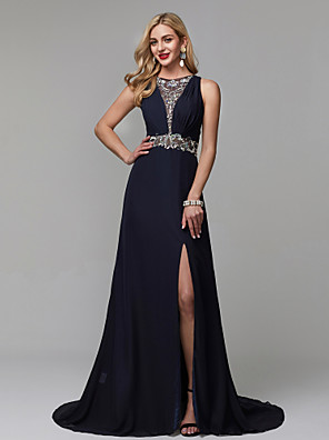 cheap Evening Dresses-A-Line Luxurious Blue Engagement Formal Evening Dress Jewel Neck Sleeveless Court Train Chiffon with Crystals Beading Split 2020