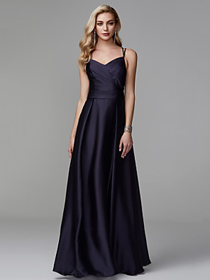 cheap Evening Dresses-A-Line Beautiful Back Minimalist Prom Formal Evening Dress Spaghetti Strap Sleeveless Floor Length Satin with Beading Side Draping 2020