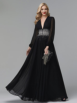cheap Prom Dresses-A-Line Empire Black Wedding Guest Formal Evening Dress V Neck Long Sleeve Floor Length Chiffon with Crystals 2020