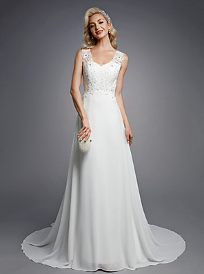 cheap Special Occasion Dresses-A-Line Wedding Dresses V Neck Floor Length Chiffon Lace Regular Straps Sexy with Beading Appliques Button 2020