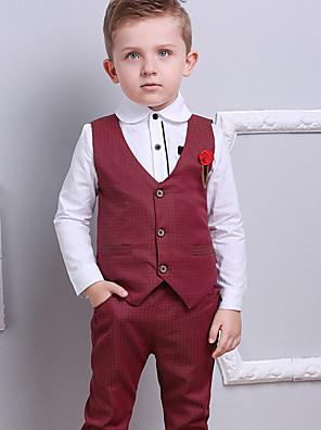 povoljno Kompletići za dječake-Djeca Dječaci Aktivan Osnovni Party Praznik Na točkice Color block Jednobojni Kolaž Print Dugih rukava Regularna Normalne dužine Komplet odjeće Lila-roza