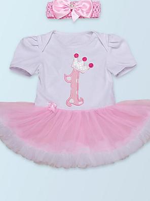 cheap Baby Girls'  Dresses-Baby Girls' Basic Geometric Short Sleeve Dress White / Toddler