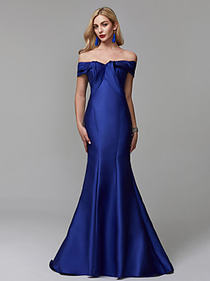cheap Prom Dresses-Mermaid / Trumpet Elegant Blue Prom Formal Evening Dress Off Shoulder Short Sleeve Sweep / Brush Train Satin with Ruffles 2020