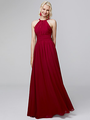 cheap Evening Dresses-A-Line Halter Neck Floor Length Chiffon Bridesmaid Dress with Side Draping / Ruffles / Open Back