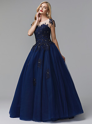 cheap Special Occasion Dresses-Ball Gown Sparkle & Shine Formal Evening Dress Jewel Neck Sleeveless Floor Length Lace Tulle with Beading Appliques 2020