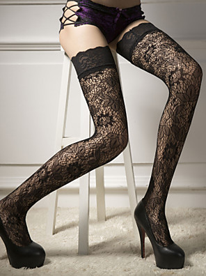 cheap Socks & Hosiery-Women's Thin Stockings - Solid Colored 30D Black One-Size