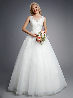 cheap Prom Dresses-Ball Gown Wedding Dresses Jewel Neck Floor Length Lace Tulle Regular Straps Formal Casual Illusion Detail Backless with Beading Appliques 2020