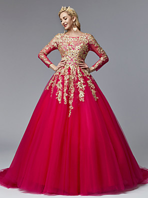 cheap Special Occasion Dresses-Ball Gown Chinese Style Vintage Inspired Formal Evening Dress Jewel Neck Long Sleeve Court Train Lace Tulle with Pearls Beading Appliques 2020