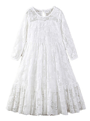 cheap Girls' Dresses-Kids Girls' Active Sweet Holiday Going out Solid Colored Lace Bow Mesh 3/4 Length Sleeve Maxi Dress White / Embroidered