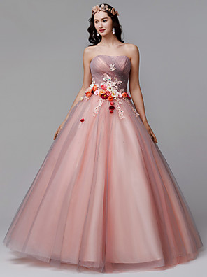 cheap Evening Dresses-Ball Gown Floral Formal Evening Dress Strapless Sleeveless Floor Length Tulle with Pleats Flower 2020