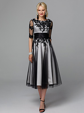 cheap Homecoming Dresses-A-Line Elegant Little Black Dress Cocktail Party Wedding Party Dress Jewel Neck Half Sleeve Tea Length Lace Tulle with Sash / Ribbon Appliques 2020 / Illusion Sleeve