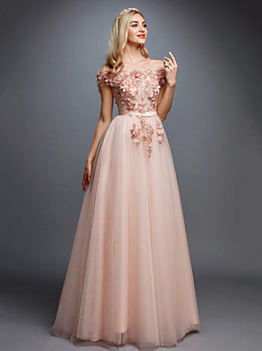 cheap Evening Dresses-A-Line Floral Pink Prom Formal Evening Dress Off Shoulder Sleeveless Sweep / Brush Train Tulle Over Lace with Appliques 2020