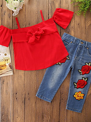 cheap Baby Girls' One-Piece-Baby Girls' Casual / Active Daily / Holiday Solid Colored / Floral Embroidered Short Sleeve Regular Clothing Set Red / Toddler
