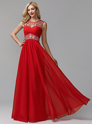 cheap Evening Dresses-A-Line Empire Red Prom Formal Evening Dress Jewel Neck Sleeveless Floor Length Chiffon Over Satin with Crystals Beading 2020
