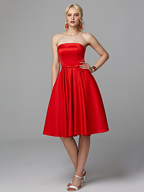 cheap Special Occasion Dresses-A-Line Elegant Minimalist Cute Homecoming Cocktail Party Dress Strapless Sleeveless Knee Length Satin Stretch Satin with Bow(s) Pleats 2020