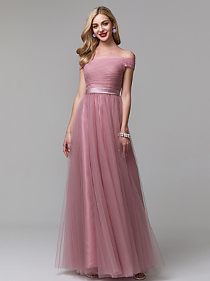 cheap Evening Dresses-A-Line Minimalist Pink Prom Formal Evening Dress Off Shoulder Short Sleeve Floor Length Tulle with Ruched 2020