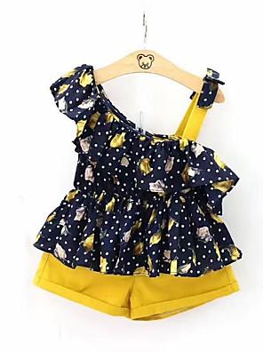 cheap Girls' Dresses-Kids Girls' Active Boho Daily School Floral Short Sleeve Regular Cotton Clothing Set Navy Blue