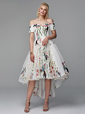 voordelige Cocktailjurken-terug naar school baljurk elegante bloemen hoog laag cocktail party prom jurk off shoulder korte mouw asymmetrisch polyester met borduurwerk 2020 hoco jurk