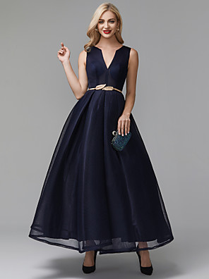 cheap Prom Dresses-A-Line Elegant Minimalist Cocktail Party Prom Dress V Wire Sleeveless Ankle Length Spandex with Sash / Ribbon 2020