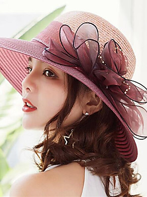 cheap Women's Dresses-Women's Kentucky Derby Active Holiday Straw Lace Straw Hat-Solid Colored Ruffle Summer Gray Fuchsia Wine