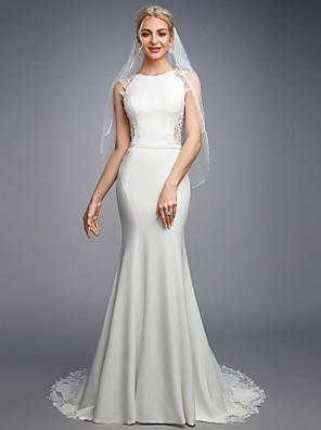 cheap Wedding Dresses-Mermaid / Trumpet Wedding Dresses Bateau Neck Court Train Chiffon Lace Regular Straps Sexy Illusion Detail Backless with Lace Buttons Appliques 2020
