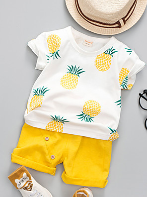 cheap Girls' Dresses-Baby Unisex Active Daily Pineapple Fruit Print Short Sleeve Regular Cotton Clothing Set Green / Toddler