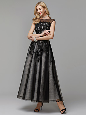 cheap Evening Dresses-A-Line Elegant Little Black Dress Keyhole Prom Formal Evening Dress Illusion Neck Sleeveless Ankle Length Lace Tulle with Appliques 2020