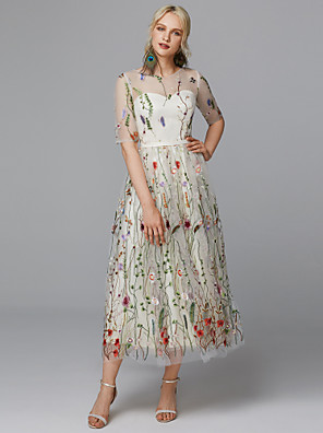 cheap Bridesmaid Dresses-A-Line Floral White Holiday Cocktail Party Dress Illusion Neck Half Sleeve Tea Length Lace Tulle with Embroidery Appliques 2020