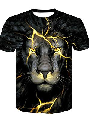 cheap Boys' Tops-Men's Daily T-shirt Animal Print Short Sleeve Tops Basic Streetwear Round Neck Black / Summer / Club